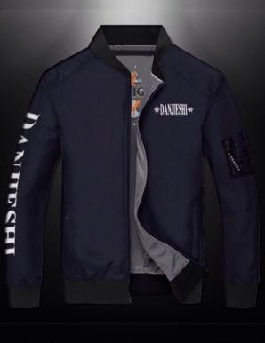 Áo khoác dù 2 mặt tay chữ mới màu xanh đen- B4202