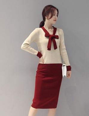 Set áo váy len thắt nơ màu kem phối đỏ - B4293