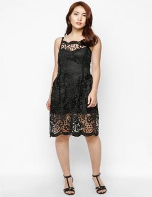 Đầm ren thêu hàn quốc cao cấp black & white - B4304