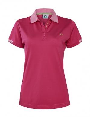 Áo thun nữ cổ dệt sọc colo hồng sen- B4361