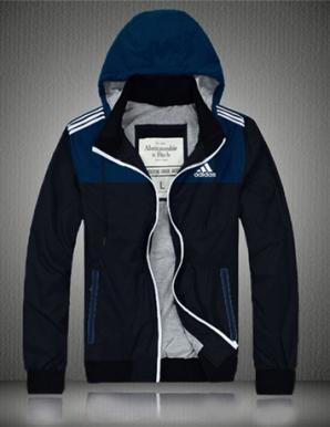 Áo khoác dù nam có nón logo adidas xanh dương  - B4392