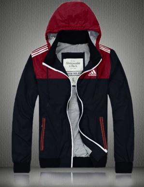 Áo khoác dù nam có nón logo adidas màu đỏ đô - B4394