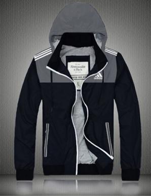 Áo khoác dù nam có nón logo adidas màu màu xám  - B4395