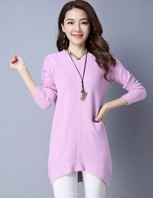 Áo len xẻ tà form dài 2 túi màu hồng - B4428