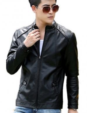 Áo khoác da kẻ dọc màu đen - B4447
