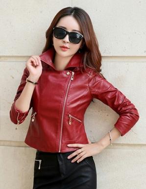 Áo khoác da croptop cổ vest phối dây kéo màu đỏ - B4457