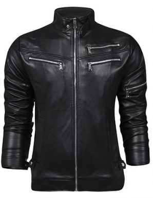 Áo khoác da phối dây kéo kim loại màu đen - B4496