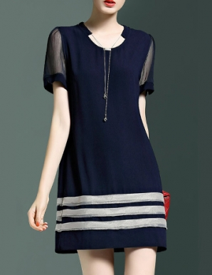 Đầm cổ V phối tay lưới - B4517