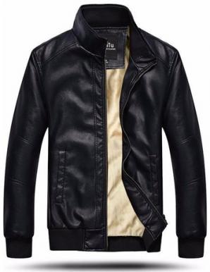 Áo khoác da nam lót nỉ lông màu đen - B4522