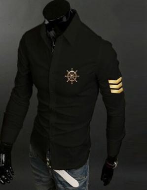 Sơ mi nam in logo 3 sọc màu đen - B4539