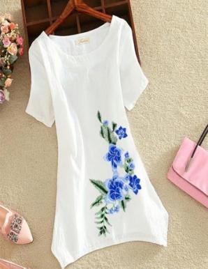 Áo form dài thêu hoa màu xanh - B4547