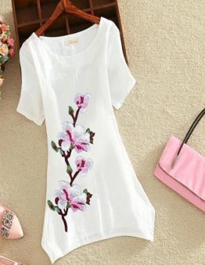 Áo form dài thêu hoa màu hồng - B4548