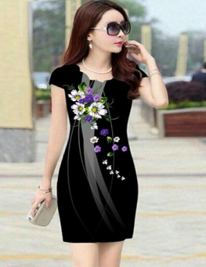 Đầm ôm 3d hoa nổi bật - B4555