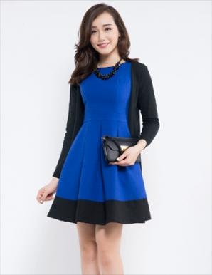 Váy liền dáng xòe màu xanh - B4588