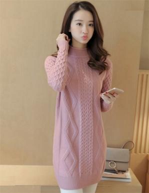 Áo len form dài cổ lọ màu hồng - B4605