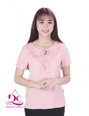 Áo kiểu tay ngắn màu hồng - B4649
