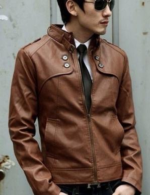 Áo khoác da 4 nút màu nâu  - B4695