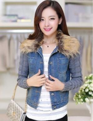 Áo khoác jean tay len cổ phối lông - B4716