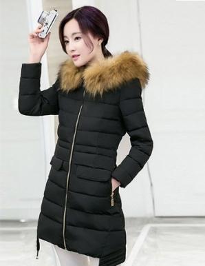 Áo phao form dài cổ phối lông màu đen - B4718
