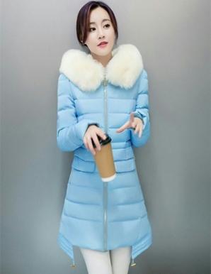 Áo phao form dài cổ phối lông màu xanh - B4719