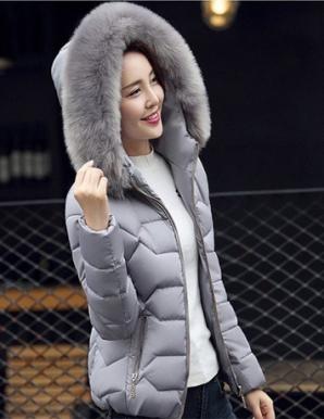 Áo khoác phao nón phối lông màu xám - B4721