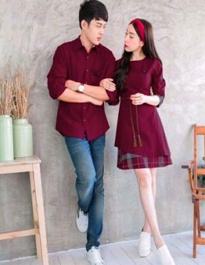 Set áo váy cặp màu đỏ phối caro - B4795