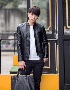 Áo khoác da nam lịch lãm màu đen - B4821