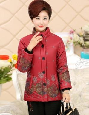 Áo khoác phao quý bà in hoa màu đỏ - B4848
