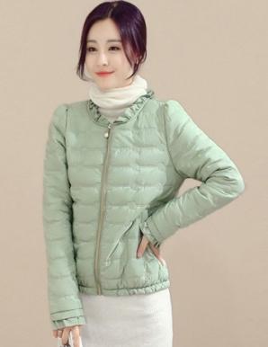 Áo khoác phao ép mỏng màu xanh thêu hoa - B4852