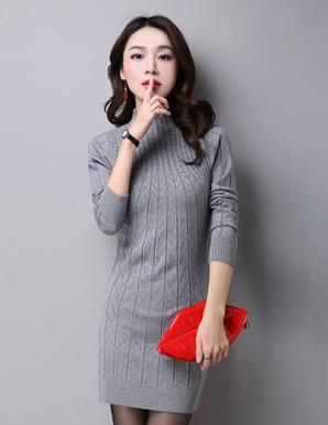 Đầm len thu đông cổ lọ  màu xám  - B4904