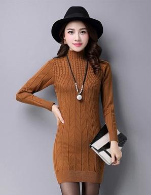 Đầm len thu đông cổ lọ màu nâu- B4906