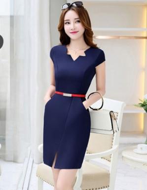 Đầm ôm công sở xẻ tà màu xanh đen - B4923