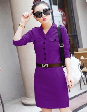 Đầm ôm túi đắp cách điệu màu tím - B4946
