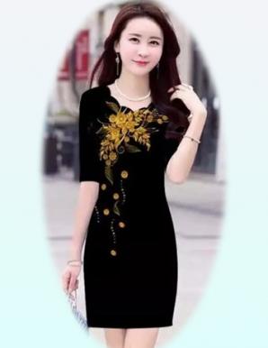 Đầm ôm 3D hoa nổi bật - B4983
