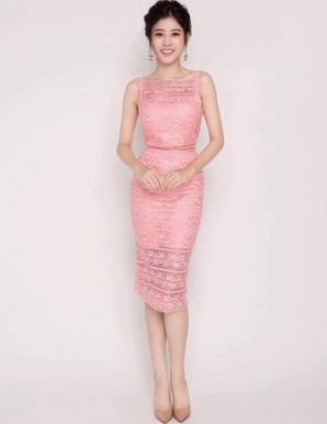 Đầm ren ôm dự tiệc màu hồng - B5022