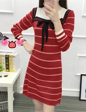 Đầm len sọc cổ nơ màu đỏ hotgirl - B5033