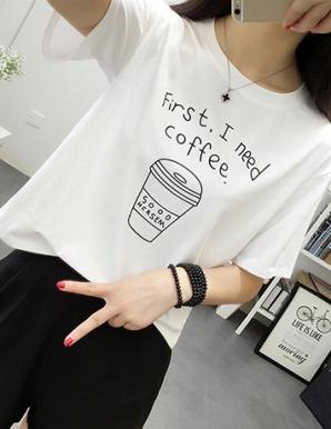 Áo thun nữ họa tiết chữ COFFEE - B5042