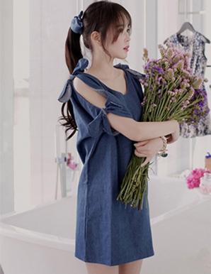 Đầm jean suông tay lỡ phối nơ - B5047