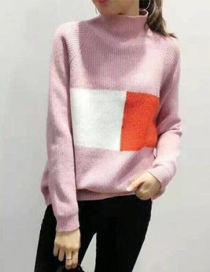 Áo len rộng cổ cao màu hồng ruốc hotgirl - B5121
