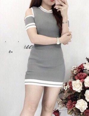 Đầm len khoét tay màu xám hotgirl- B5131