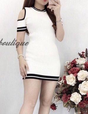 Đầm len khoét tay màu trắng hotgirl- B5132