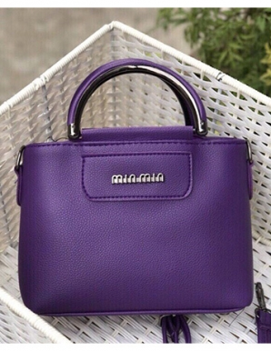 Túi xách quai tròn VNXK màu tím hotgirl- B5145