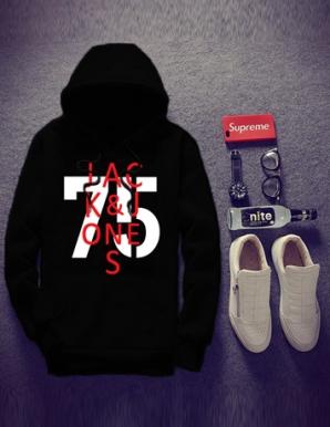 Áo khoác hoodie da cá màu đen - B5155
