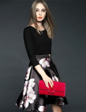 Đầm liền chân váy hoa - B5163