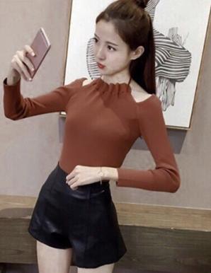 Áo len kiểu cổ yếm màu nâu hotgirl- B5207