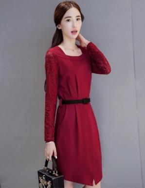 Đầm công sở phối ren tay màu đỏ - B5261