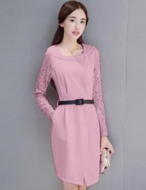 Đầm công sở phối ren tay màu hồng - B5262