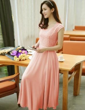 Đầm maxi phối ren cao cấp màu dâu - B5320