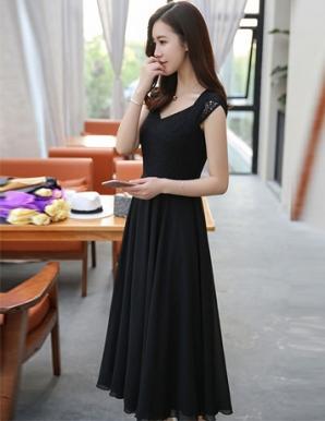 Đầm maxi phối ren cao cấp màu đen - B5321