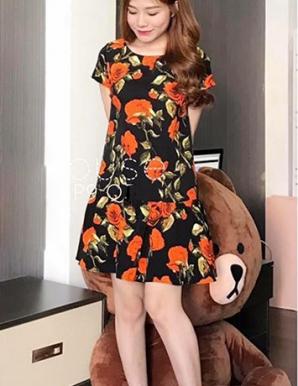 Đầm suông bèo chân in hoa hotgirl - B5451